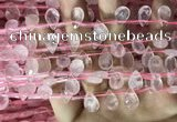 CRQ559 Top drilled 8*12mm faceted briolette rose quartz beads
