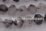 CRU512 15.5 inches 8mm faceted nuggets black rutilated quartz beads