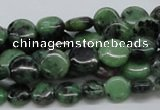 CRZ10 15.5 inches 10mm flat round ruby zoisite gemstone beads