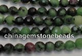 CRZ105 15.5 inches 6mm faceted round ruby zoisite gemstone beads