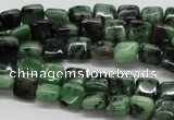 CRZ12 15.5 inches 8*8mm square ruby zoisite gemstone beads wholesale