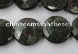 CRZ217 15.5 inches 20mm faceted coin ruby zoisite gemstone beads