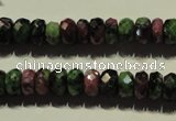 CRZ365 15.5 inches 6*9mm faceted rondelle natural ruby zoisite beads