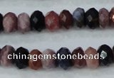 CRZ522 15.5 inches 4*6mm faceted rondelle natural ruby sapphire beads
