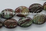 CSD05 15.5 inches 12*16mm oval dyed stripe jasper gemstone beads