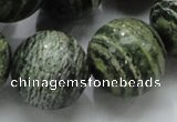 CSJ10 15.5 inches 22mm round green silver line jasper beads wholesale
