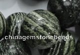 CSJ11 15.5 inches 25mm round green silver line jasper beads wholesale