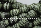 CSJ14 15.5 inches 8*12mm egg-shaped green silver line jasper beads