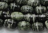 CSJ15 15.5 inches 10*15mm egg-shaped green silver line jasper beads