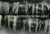 CSJ17 15.5 inches 15*20mm egg-shaped green silver line jasper beads