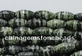 CSJ18 15.5 inches 8*15mm rice green silver line jasper beads