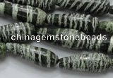 CSJ22 15.5 inches 10*30mm teardrop green silver line jasper beads