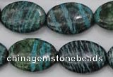 CSJ228 15.5 inches 18*25mm oval dyed green silver line jasper beads