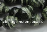 CSJ23 15.5 inches 15*20mm teardrop green silver line jasper beads