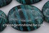 CSJ230 15.5 inches 30*40mm oval dyed green silver line jasper beads