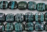 CSJ233 15.5 inches 12*12mm square dyed green silver line jasper beads