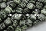 CSJ25 15.5 inches 8*8mm square green silver line jasper beads