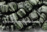 CSJ26 15.5 inches 10*10mm square green silver line jasper beads