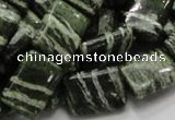 CSJ37 15.5 inches 13*18mm rectangle green silver line jasper beads