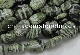 CSJ50 15.5 inches 8*12mm oval green silver line jasper beads