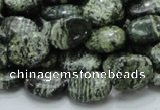 CSJ51 15.5 inches 10*14mm oval green silver line jasper beads
