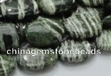 CSJ52 15.5 inches 13*18mm oval green silver line jasper beads