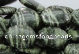 CSJ54 15.5 inches 18*25mm oval green silver line jasper beads