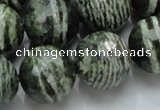 CSJ69 15.5 inches 20mm faceted round green silver line jasper beads