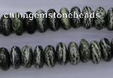 CSJ89 15.5 inches 6*12mm rondelle green silver line jasper beads