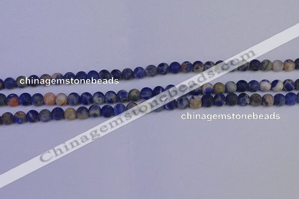 CSO520 15.5 inches 4mm round matte orange sodalite beads wholesale