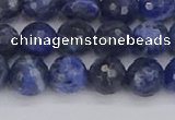 CSO560 15.5 inches 8mm faceted round sodalite gemstone beads