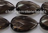 CSQ140 20*30mm faceted flat teardrop grade AA natural smoky quartz beads