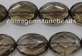 CSQ211 15*20mm faceted oval grade AA natural smoky quartz beads