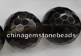 CSQ248 15.5 inches 25mm faceted round grade AA natural smoky quartz beads