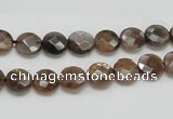 CSS104 15.5 inches 8mm faceted coin natural sunstone beads wholesale