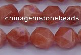 CSS684 15.5 inches 12mm faceted nuggets natural sunstone beads