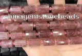 CTB222 15.5 inches 10*14mm faceted tube strawberry quartz beads