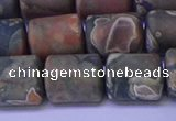 CTB568 15.5 inches 10*13mm triangle matte rhyolite beads