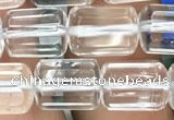 CTB600 15.5 inches 8*12mm faceted tube white crystal beads wholesale