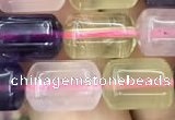 CTB603 15.5 inches 8*12mm tube mixed quartz beads wholesale