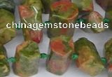 CTB758 15.5 inches 6*10mm - 8*12mm faceted tube unakite beads