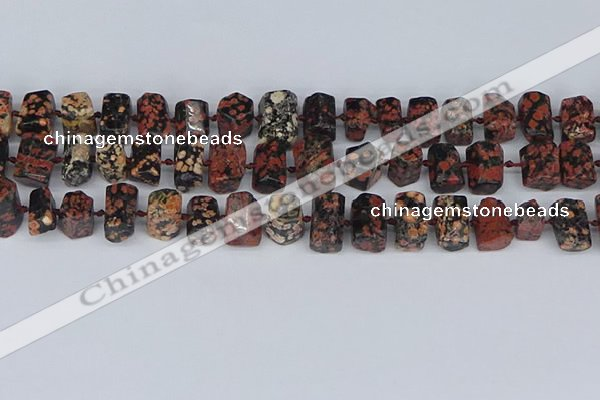 CTB761 6*10mm - 8*12mm faceted tube red snowflake obsidian beads