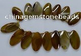 CTD2530 Top drilled 28*57mm faceted oval agate gemstone beads