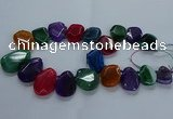 CTD2591 Top drilled 20*25mm - 30*40mm faceted freeform agate beads