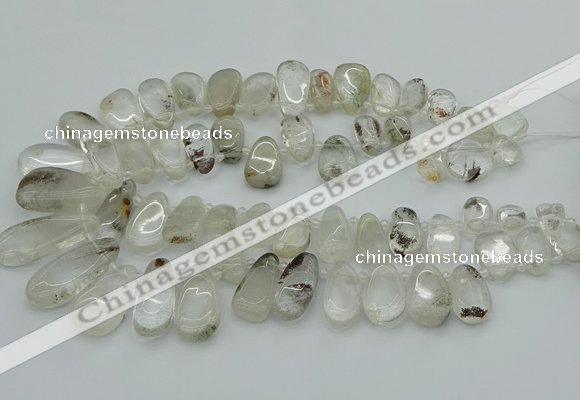 CTD3540 Top drilled 10*22mm - 15*45mm freeform green phantom quartz beads