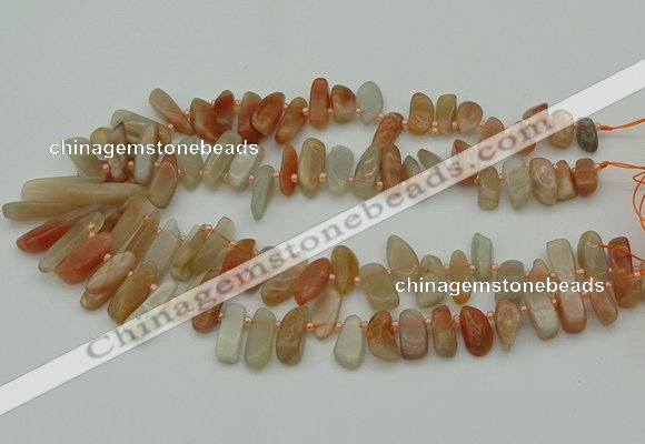 CTD3542 Top drilled 6*16mm - 8*35mm freeform moonstone beads