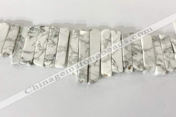 CTD3734 Top drilled 8*20mm - 10*50mm sticks white howlite beads