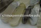 CTD465 15.5 inches 12*25mm - 15*45mm freeform grey agate beads