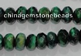 CTE1022 15.5 inches 6*10mm faceted rondelle dyed green tiger eye beads