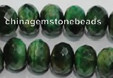 CTE1024 15.5 inches 10*14mm faceted rondelle dyed green tiger eye beads